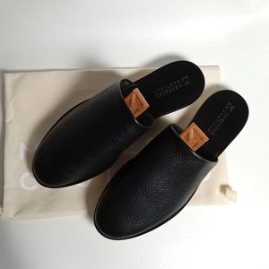 Mercedes Castillo Black Leather Mules